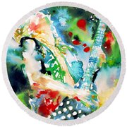 Randy Rhoads Playing The Guitar - Watercolor Portrait Round Beach Towel