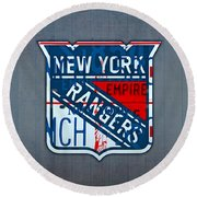 Rangers Original Six Hockey Team Retro Logo Vintage Recycled New York License Plate Art Round Beach Towel by Design Turnpike