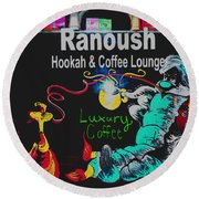 Ranoush Painted Round Beach Towel by Kelly Awad