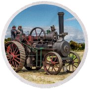 Ransomes Steam Engine Round Beach Towel