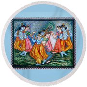 Round Beach Towel featuring the painting Ras Leela by Harsh Malik