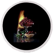 Raspberries In A Glass Serving Dish With Tarts Round Beach Towel