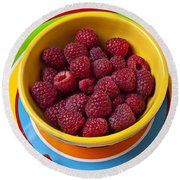 Raspberries In Yellow Bowl On Plate Round Beach Towel