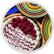Raspberry Cake Round Beach Towel