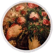 Round Beach Towel featuring the painting Raspberry Jammies by Laurie L