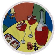 Round Beach Towel featuring the painting Raspberry Wine by Barbara McMahon