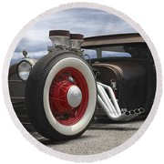 Rat Rod On Route 66 Panoramic Round Beach Towel