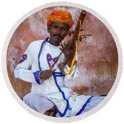 Ravanhatha Musician Round Beach Towel