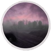 Round Beach Towel featuring the photograph Rave In The Grave by Terri Waters