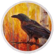 Raven Glow Autumn Forest Of Golden Leaves Round Beach Towel