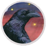 Raven Steals The Moon - Moon What Moon? Round Beach Towel