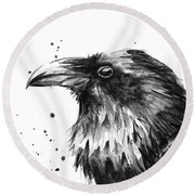 Raven Watercolor Portrait Round Beach Towel