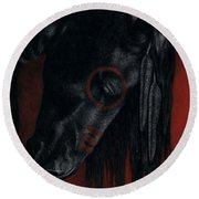 Round Beach Towel featuring the painting Raven Wing by Pat Erickson