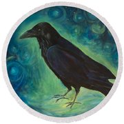 Round Beach Towel featuring the painting Space Raven by Yulia Kazansky