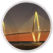 Ravenel Bridge At Dusk Round Beach Towel