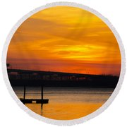 Orange Blaze Round Beach Towel by Dale Powell