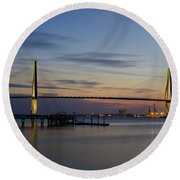 Ravenel Bridge Nightfall Round Beach Towel by Dale Powell