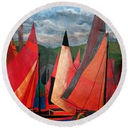 Round Beach Towel featuring the painting Ravenna Regatta by Tracey Harrington-Simpson