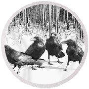 Ravens By The Edge Of The Woods In Winter Round Beach Towel