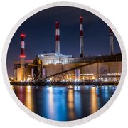 Ravenswood Generating Station Round Beach Towel