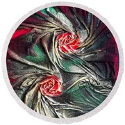 Raw Red Roses Framed Round Beach Towel