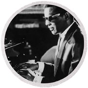 Ray Charles At The Piano Round Beach Towel