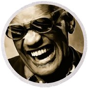 Ray Charles - Portrait Round Beach Towel by Paul Tagliamonte