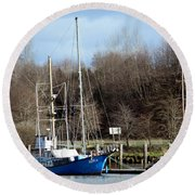 Raymond Fishing Boats Round Beach Towel
