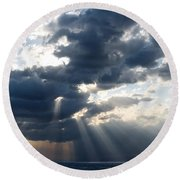 Rays And Clouds Round Beach Towel