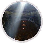 Rays Of Hope St. Peter's Basillica Italy  Round Beach Towel by Bob Christopher