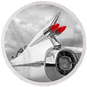 Reach For The Skies - 1959 Cadillac Tail Fins Black And White Round Beach Towel by Gill Billington