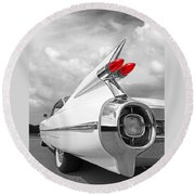 Reach For The Skies - 1959 Cadillac Tail Fins Black And White Round Beach Towel