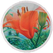 Reach For The Skies Round Beach Towel by Pamela Clements
