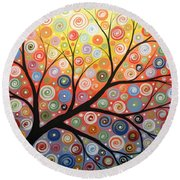Reaching For The Light Round Beach Towel by Amy Giacomelli