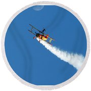 Reaching For The Moon. Oshkosh 2012. Postcard Border. Round Beach Towel