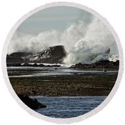 Round Beach Towel featuring the photograph Reaching For The Sky by Dave Files