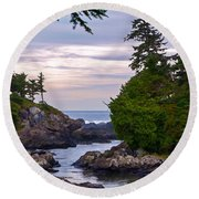 Reaching Out To The Ocean Round Beach Towel