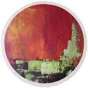 Reaching Up, Abstract  Round Beach Towel