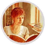 Round Beach Towel featuring the painting Reading A Book Vintage Style by Irina Sztukowski