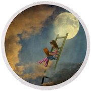 Reading At Moonlight Round Beach Towel