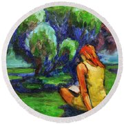 Round Beach Towel featuring the painting Reading In A Park by Xueling Zou