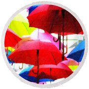 Ready For Rain Round Beach Towel by Lynne Jenkins