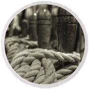 Ready For Work Black And White Sepia Round Beach Towel