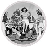 Real College Swingers Round Beach Towel