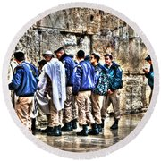 Round Beach Towel featuring the photograph Real Homeland Security In Israel by Doc Braham
