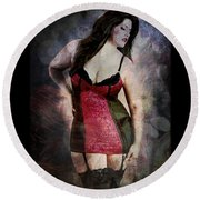 Real Woman Real Curves Round Beach Towel by Absinthe Art By Michelle LeAnn Scott