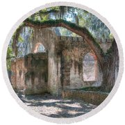 Rear View Of The Chapel Of Ease Round Beach Towel