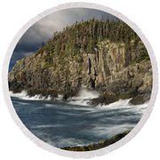 Receding Storm At Gulliver's Hole Round Beach Towel