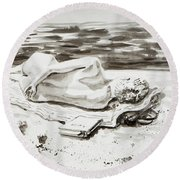 Reclining Nude Study Resting At The Beach Round Beach Towel