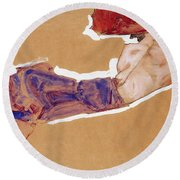 Reclining Semi-nude With Red Hat Round Beach Towel